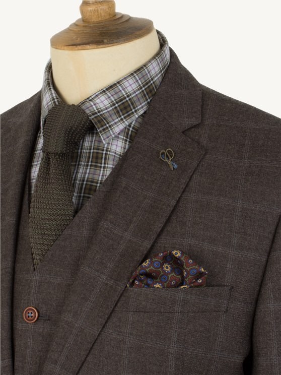 Brown Check Suit - Mens Suit Jackets - Gibson London