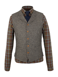 Gibson Taupe Donegal Tweed Waistcoat