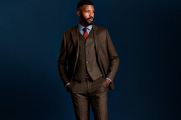 Coffee Herringbone Suit