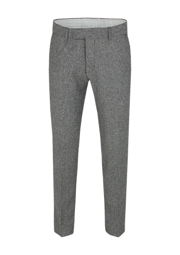 Gibson Black/White Plain Front Herringbone Trouser