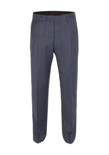 Gibson Dark Blue Check Plain Front Trouser