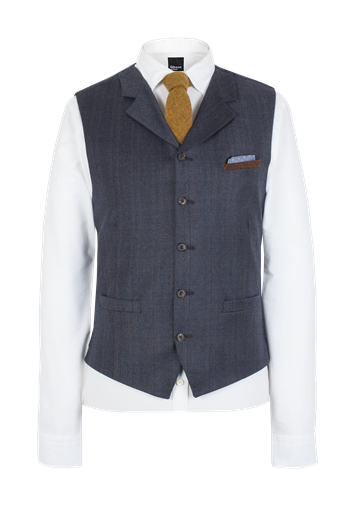 Gibson Dark Blue Flannel Waistcoat With Tan Overcheck