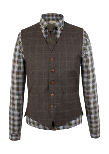 Gibson Brown Check Waistcoat