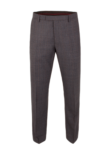 Gibson Blue Check Plain Front Trousers