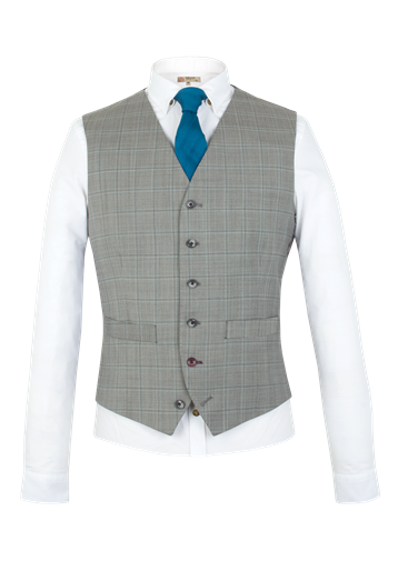 Gibson Taupe Check Waistcoat