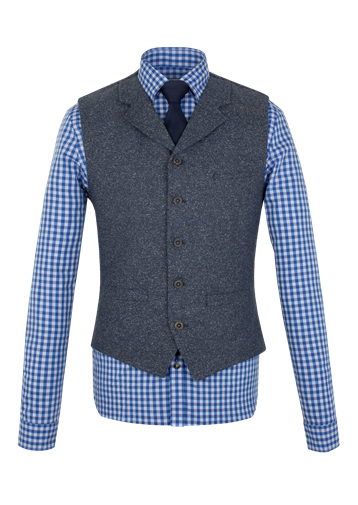Gibson Blue Donegal Waistcoat