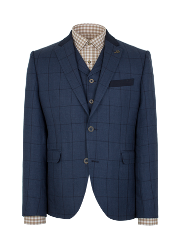 Gibson Navy Check Slim Fit Jacket