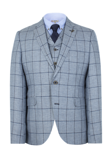 Gibson Pale Blue Check Slim Fit Jacket