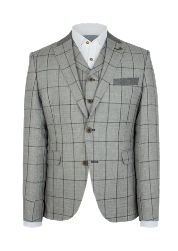 Gibson Silver Grey Check Slim Fit Jacket