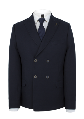 Gibson Navy Textured Double Breasted Jacket