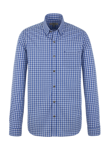 Gibson Dark Blue Gingham Long Sleeve Shirt