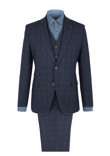 Gibson Blue Check Wool Blend Suit Jacket