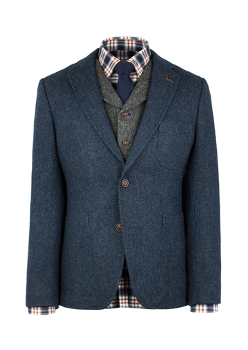 Gibson Dark Blue Contrast Herringbone Jacket