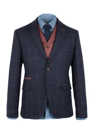 Gibson Navy Windowpane Check Jacket