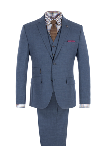 Gibson Blue Melange Suit Jacket With Matching Trousers