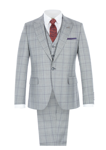 Gibson Grey Tailored Suit With Bold Purple Check