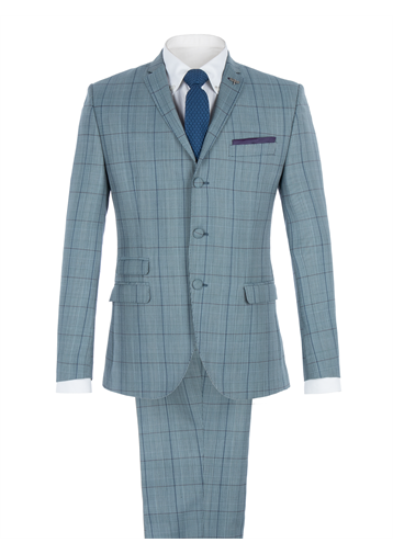 Gibson Blue Tailored Jacket With Bold Check