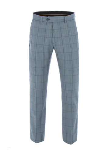 Gibson Blue Tailored Trousers With Bold Check