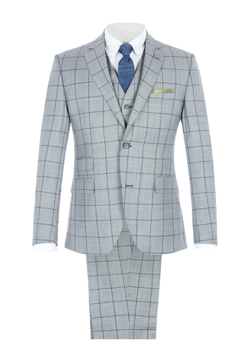 Gibson Grey Tailored Suit with Bold Blue Check