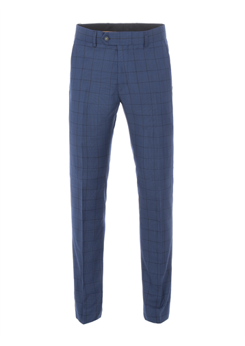Gibson Cobalt Tailored Trousers With Dark Check