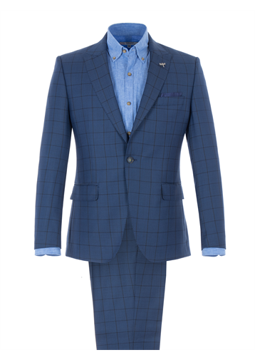Gibson Cobalt Blue Tailored Jacket With Dark Check