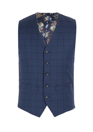 Gibson Cobalt Blue Waistcoat With Dark Check