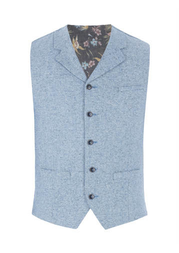 Gibson Blue Contrast Donegal Waistcoat