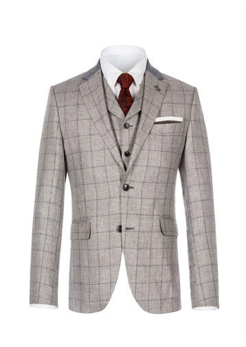 Gibson Grey Windowpane Check Jacket