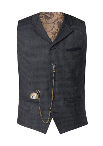 Gibson Blue muted check Waistcoat
