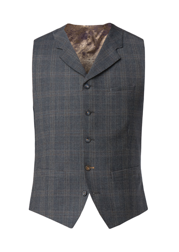 Gibson Fawn Prince of Wales Check with Blue over check waistcoat