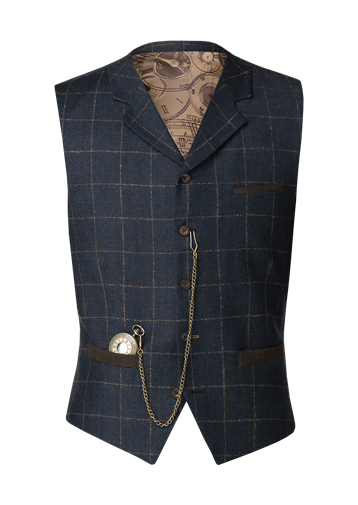 Gibson Dark Blue mini check with tan coloured over check Waistcoat