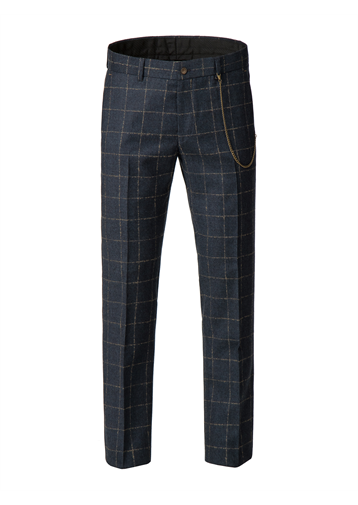 Gibson Dark Blue mini check with tan coloured over check Trousers