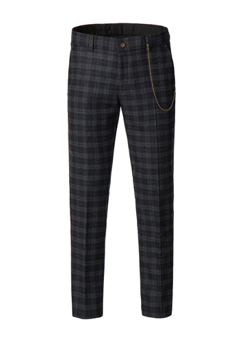 Gibson Blue and orange soft check trousers