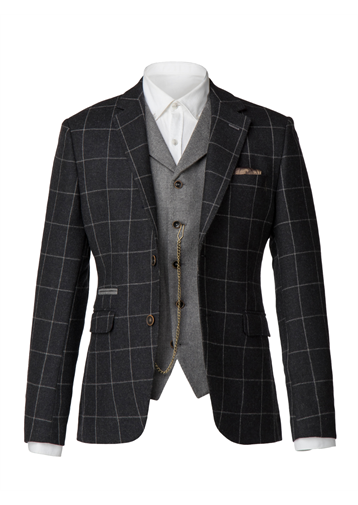 Gibson Charcoal with light grey window pane check jacket