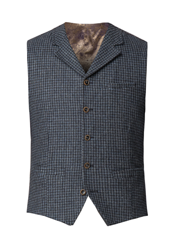 Gibson Blue muted check wool waistcoat
