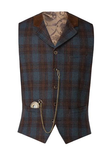 Gibson Blue teal and tan check waistcoat