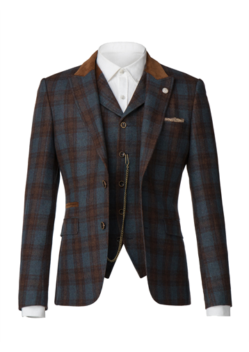 Gibson Blue teal and tan check jacket