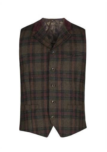 Gibson Green and Burgundy check waistcoat