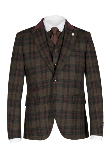 Gibson Green and Burgundy check jacket