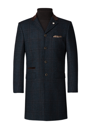 Gibson Navy Check Heavy Wool Coat