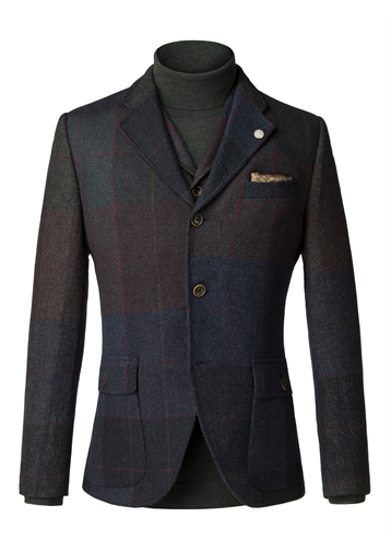 Gibson Blue and grey wool large check jacket