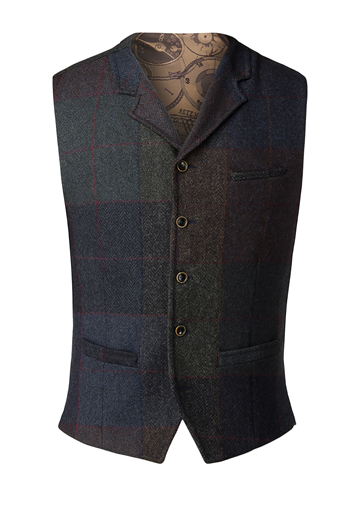 Gibson Blue and grey wool large check waistcoat