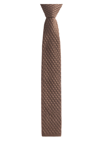 Camel honeycomb textured knitted tie