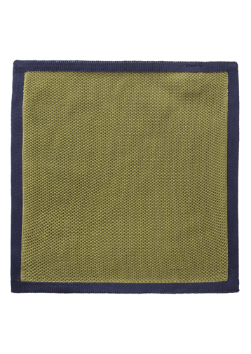 Gibson Green with Navy Trim Knitted Hankie