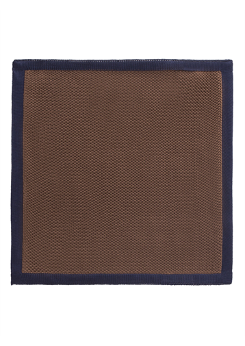 Camel with Navy Trim Knitted Hankie