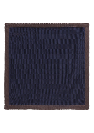 Gibson Navy with Brown Trim Knitted Hankie