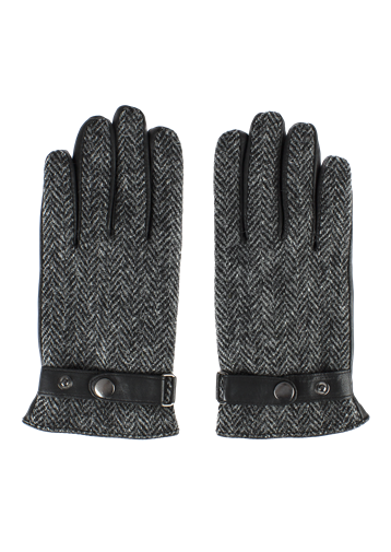 Gibson Grey Harris Tweed and Black Leather Gloves