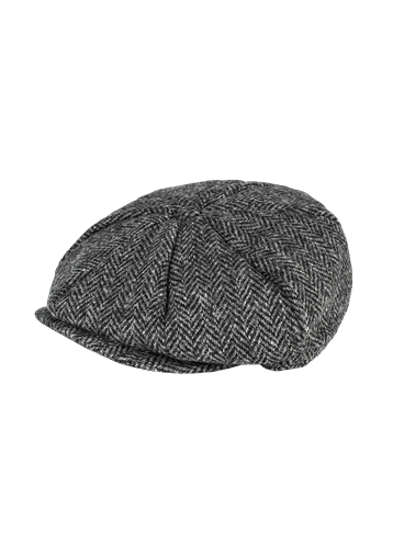 Gibson Grey Harris Tweed Baker Boy Hat