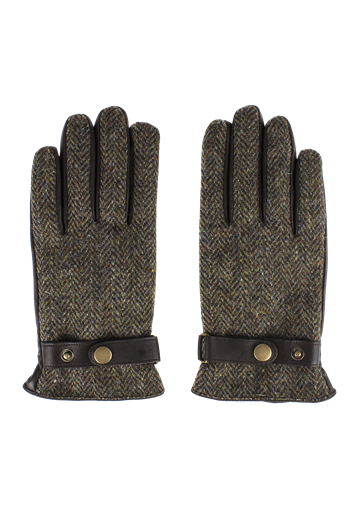 Gibson Brown Harris Tweed and Black Leather Gloves
