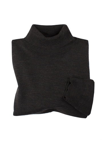 Gibson Bitter Chocolate Merino Polo Neck Jumper